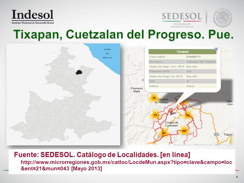 Fuente: SEDESOL. Catálogo de Localidades. [en línea] http://www